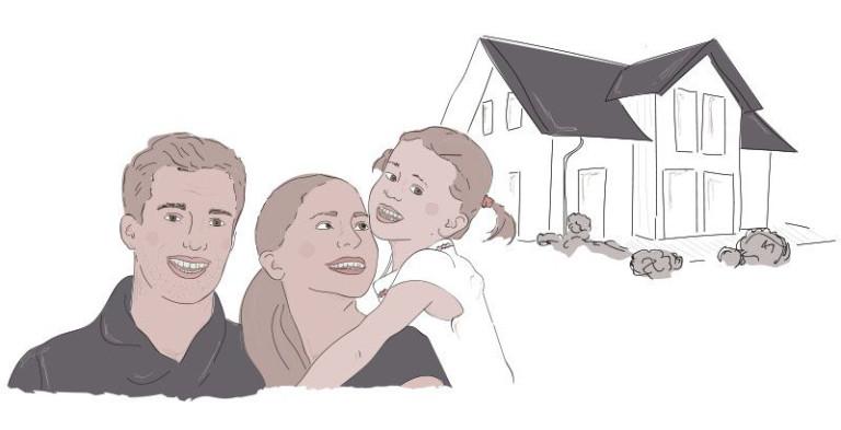 Famile vor dem neuen Braun Haus